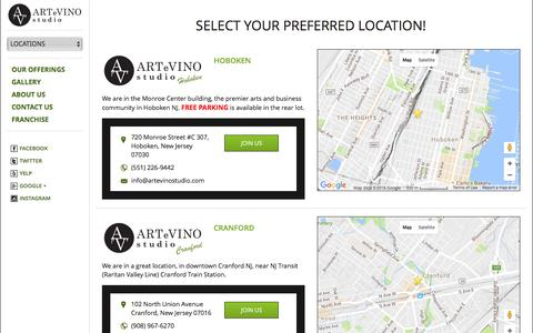 Screenshot of Locations Page artevinostudio.com - Locations - captured July 26, 2016