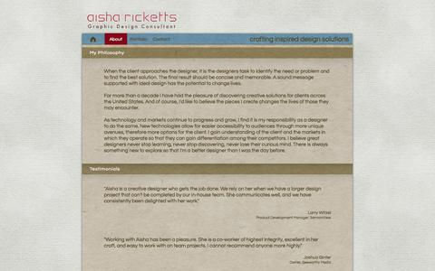 Screenshot of About Page Testimonials Page aisharicketts.com - About - captured Oct. 23, 2014