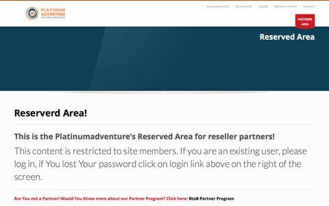 Screenshot of Products Page platinumadventure.it - BtoB Partners Area - captured Jan. 28, 2016