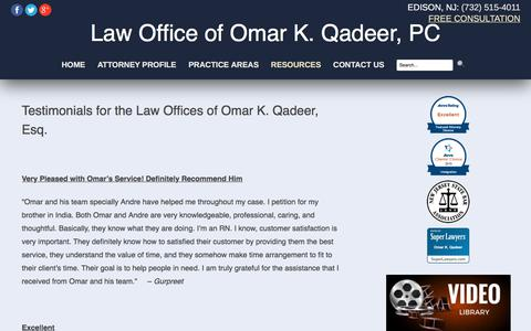 Screenshot of Testimonials Page okqlaw.com - Omar Qadeer Testimonials | Edison Divorce Attorney - captured July 20, 2017