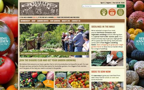 Screenshot of Home Page diggers.com.au - Plants Online And Seeds Online - Vegetables, Herbs, Flowers, Trees | The Diggers Club - captured Oct. 1, 2015