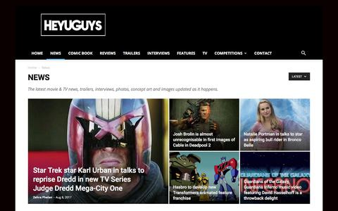 Screenshot of Press Page heyuguys.com - Movie News, Trailers, Interviews Direct from Hollywood - captured Aug. 8, 2017