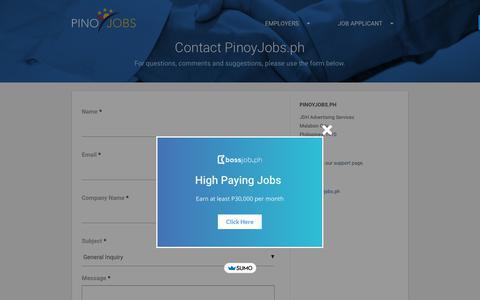 Screenshot of Contact Page pinoyjobs.ph - Contact PinoyJobs.ph - Free Job Posting Philippines - captured Sept. 28, 2018