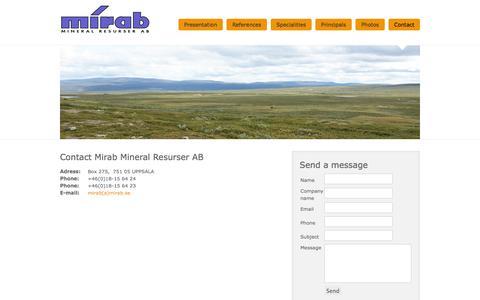 Screenshot of Contact Page mirab.se - Contact - captured Oct. 7, 2014