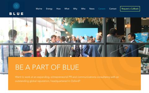Screenshot of Jobs Page blue-comms.com - Careers at BLUE Communications   Marine & Energy industry PR - captured Oct. 6, 2018