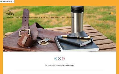 Screenshot of Press Page espro.ca - Press — ESPRO - Make it Better - Coffee and Tea Gear - captured Nov. 10, 2016
