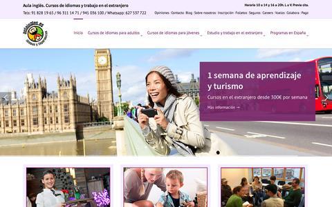 Screenshot of Home Page aulaingles.es - Trabajo y cursos de idiomas en el extranjero - Aulaingles.es - captured Oct. 4, 2014