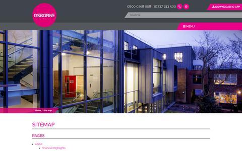 Screenshot of Site Map Page osborne.co.uk - Sitemap - Osborne Construction and Contractors - captured Sept. 21, 2018