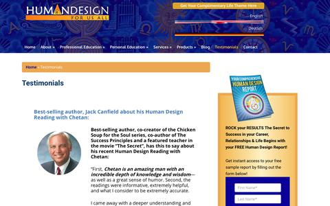 Screenshot of Testimonials Page humandesignforusall.com - Testimonials | Human Design for Us All - captured Sept. 22, 2018
