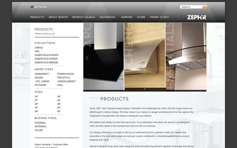 Screenshot of Products Page zephyronline.com - Zephyr - Oven Hood Products - captured Oct. 7, 2014