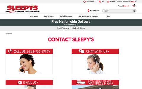 Screenshot of Contact Page sleepys.com - Contact Us - captured Jan. 14, 2017