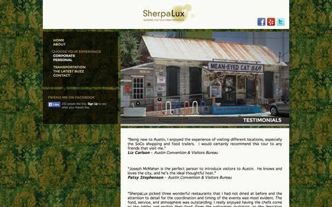 Screenshot of Testimonials Page sherpalux.com - Testimonials - Sherpalux - captured Oct. 26, 2014