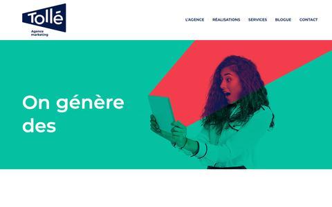 Screenshot of Home Page xn--toll-epa.marketing - Tollé - Agence Marketing + Web à Montréal et Terrebonne - captured Nov. 3, 2018