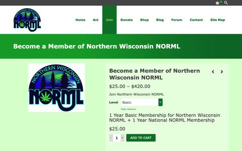 Screenshot of Signup Page northernwinorml.org - Become a Member of Northern Wisconsin NORML – Northern Wisconsin NORML - captured Dec. 21, 2018