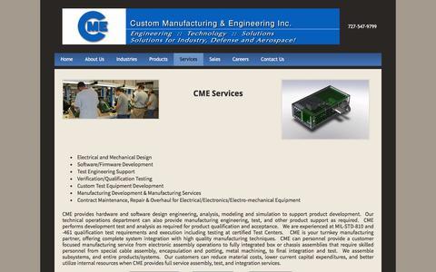 Screenshot of Services Page custom-mfg-eng.com - Manufacturing Engineering Services - Custom Manufacturing & Engineering Inc. - captured Feb. 2, 2016