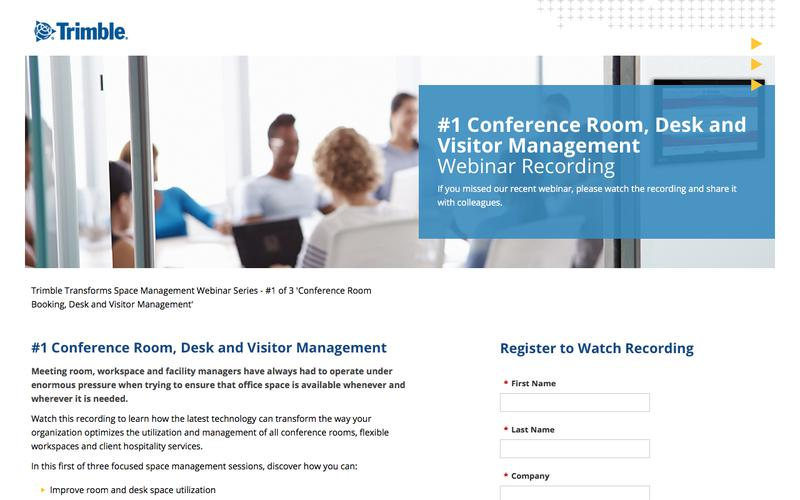 Trimble Transforms Space Management Webinar Series - #1 of 3 Conference Room Booking, Desk and Client Hospitality Management