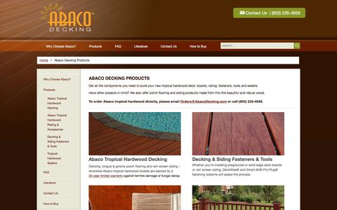 Screenshot of Products Page abacodecking.com - Massaranduba decking, siding, flooring products - Abaco - captured July 28, 2018