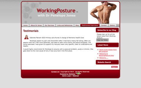 Screenshot of Testimonials Page workingposture.com.au - Testimonials | WorkingPosture - captured Sept. 30, 2014