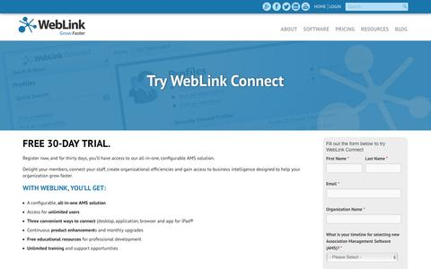 Screenshot of Trial Page weblinkinternational.com - Try WebLink Connect - captured Feb. 19, 2016