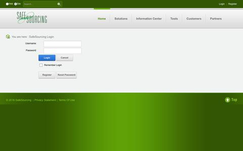 Screenshot of Login Page safesourcing.com - SafeSourcing > SafeSourcing Login - captured Nov. 17, 2016