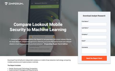 Screenshot of Landing Page zimperium.com - Compare Lookout Mobile Security with Competitors - captured May 5, 2017