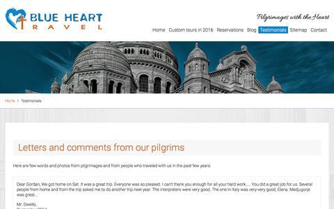 Screenshot of Testimonials Page bluehearttravel.com - Testimonials - Catholic Pilgrimages and Holy Land Tours | Blue Heart Travel - captured Nov. 22, 2016