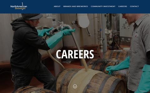 Screenshot of Jobs Page nabreweries.com - Careers | North American Breweries - captured Sept. 27, 2018