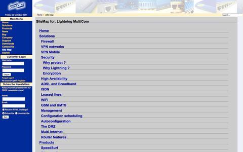 Screenshot of Site Map Page lightning.ch - Lightning MultiCom - captured Oct. 3, 2014