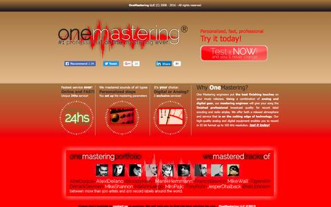 Screenshot of Home Page onemastering.com - One Mastering // #1 Professional online mastering service EVER. - captured June 12, 2017