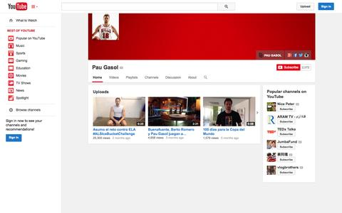 Screenshot of YouTube Page youtube.com - Pau Gasol  - YouTube - captured Oct. 31, 2014