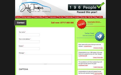 Screenshot of Contact Page jodythomasdriving.co.uk - Contact   Driving Lessons Tunbridge Wells Sevenoaks Maidstone Crowborough: Jody Thomas Driving School - captured Nov. 3, 2014