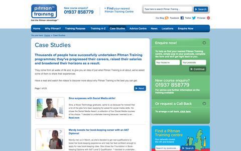 Screenshot of Case Studies Page pitman-training.com - Pitman Training Case Studies   Success Stories - Page 1 - captured Nov. 7, 2016