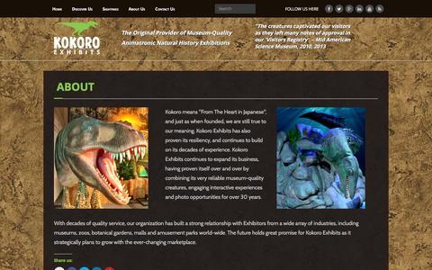 Screenshot of About Page kokoroexhibits.com - About Kokoro Exhibits - captured Jan. 9, 2016