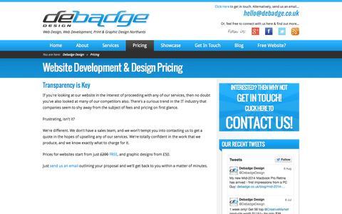 Screenshot of Pricing Page debadge.co.uk - Website & Design Pricing ★ Web Design & Print Design Northants - captured Oct. 1, 2014