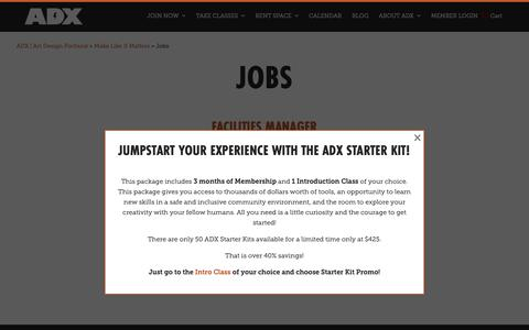 Screenshot of Jobs Page adxportland.com - Jobs | ADX | Art Design Portland - captured Dec. 9, 2018