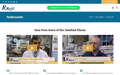 Screenshot of Testimonials Page rxsafe.com - Testimonials | RxSafe - captured Oct. 23, 2017