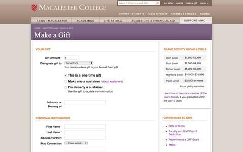 Make a Gift - Support Mac - Macalester College