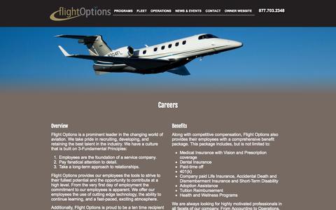 Screenshot of Jobs Page flightoptions.com - Flight Options Careers | Private Jet Aviation Careers | Flight Options LLC - captured Sept. 23, 2014