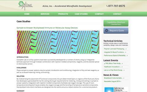 Screenshot of Case Studies Page alineinc.com - Case Studies with Microfluidics Applications - captured Sept. 30, 2014