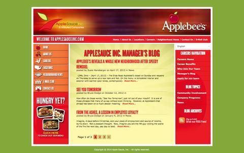 Screenshot of Blog applesauceinc.com - Manager's Blog   Apple Sauce Inc. - captured Sept. 30, 2014
