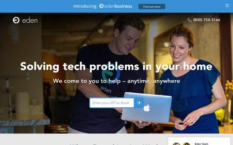 Screenshot of Home Page eden.io - Eden - Solving Tech Frustrations in Your Home - captured Nov. 3, 2015