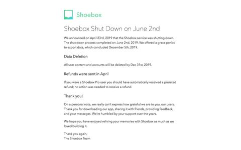 Screenshot of Home Page shoeboxapp.com - Shoebox Shutdown June 2nd, 2019 - captured Dec. 10, 2019