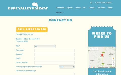 Screenshot of Contact Page bvrw.co.uk - Bure Valley Railway - Contact us - captured Nov. 23, 2016