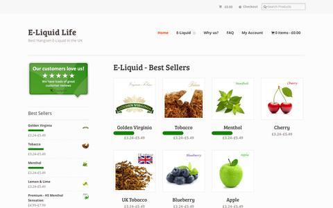 Screenshot of Home Page eliquidlife.co.uk - E-Liquid UK | Hangsen E-Liquid from £3.24 at E-Liquid Life - captured Jan. 15, 2015