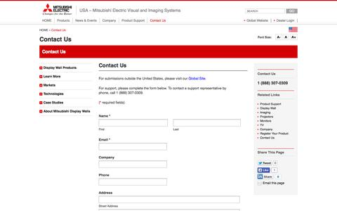 Screenshot of Contact Page me-vis.com - Contact Us - Mitsubishi Electric Visual and Imaging Systems - captured Oct. 1, 2014