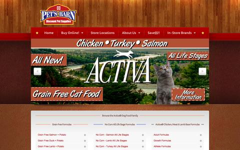 Screenshot of Home Page petsbarn.com - Pet's Barn   Premium Dog Food   Healthy Dog Food - captured Sept. 29, 2014