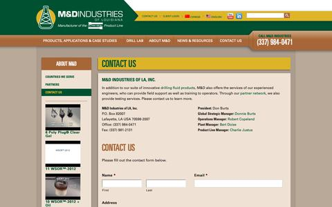 Screenshot of Contact Page drilllab.com - Contact Us - M&D Industries of LouisianaM&D Industries of Louisiana - captured Nov. 11, 2018