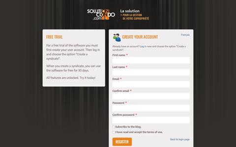 Screenshot of Trial Page solutioncondo.com - Create your account - captured Oct. 20, 2018