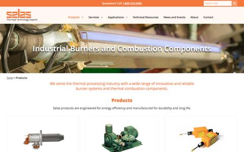 Screenshot of Products Page selas.com - Selas Industrial Burners, Combustion Components, Fuel Saving Products - captured Nov. 29, 2016
