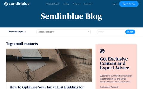 Screenshot of Blog sendinblue.com - email contacts Archives | Sendinblue Blog - captured Nov. 1, 2019